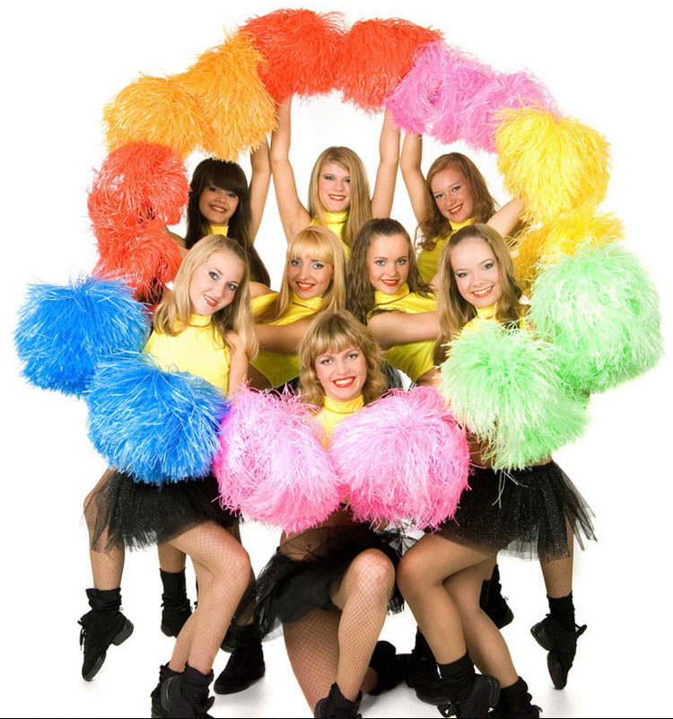 plastic color cheerleader pompon (2pcs/lot) Cheerleading Pom Poms Cheerleaders Props Suitable for increasing atmosphere