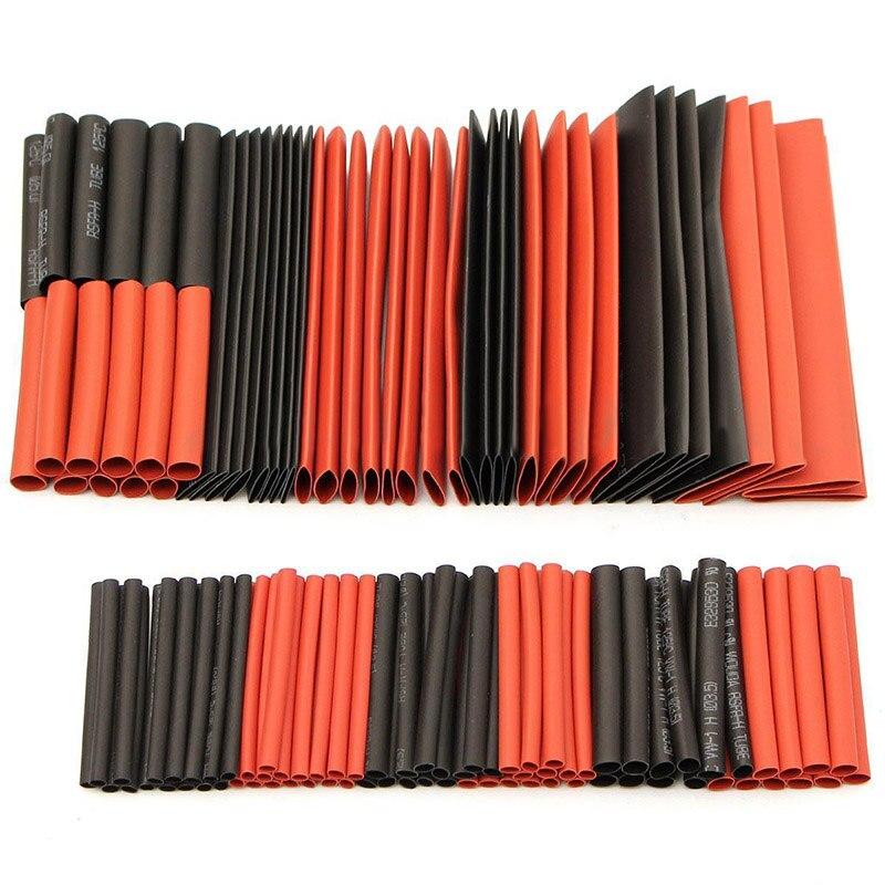 127 Uds Cable de tubo de envoltura de alambre negro y rojo poliolefina surtido Ratio 21 tubo de Tubo termorretráctil