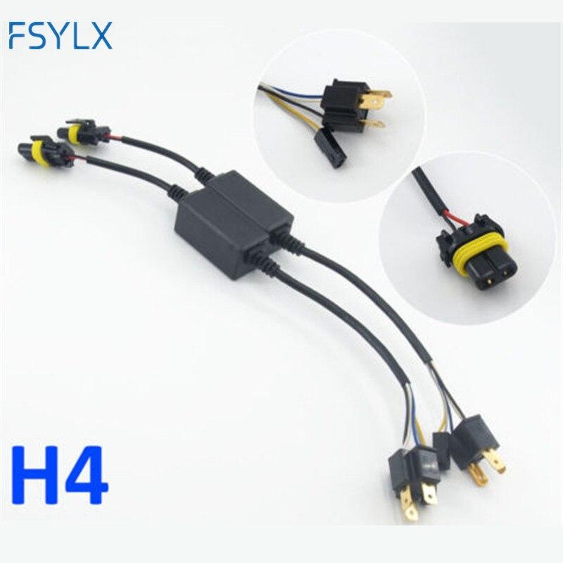 HID ксеноновый балластный кабель FSYLX, 2 шт., H4 bixenon адаптер, Hi-Lo реле, жгут проводов, разъем для одной фары двигателя