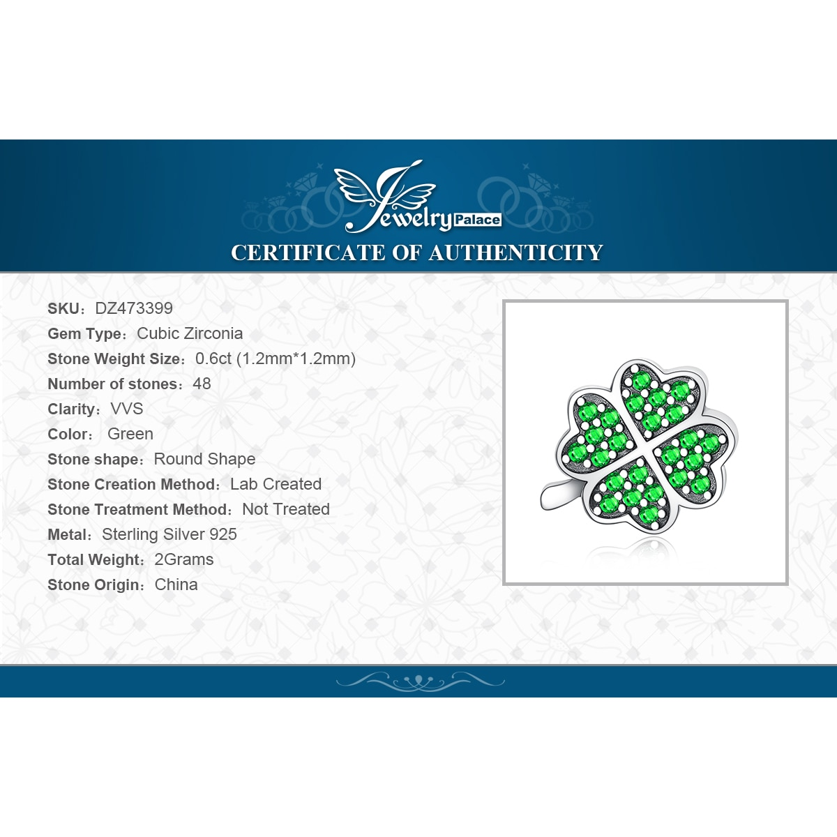 Купить с кэшбэком JewelryPalace Lucky Clover 925 Sterling Silver Beads Charms Silver 925 Original For Bracelet Silver 925 original Jewelry Making