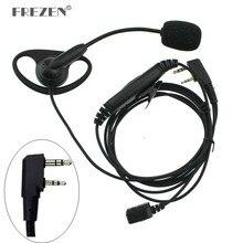 K Stecker Walkie Talkie Headset D-typ Finger Ohr Stick Doppel PTT Kopfhörer Taktische Hörer für Baofeng UV-5R Kenwood TK-3107