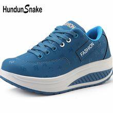 Hundunserpent chaussures de Sport compensées dame baskets femme cuir Pu chaussures de course femme chaussures de Sport femme bleu Scarpe Donna B-045