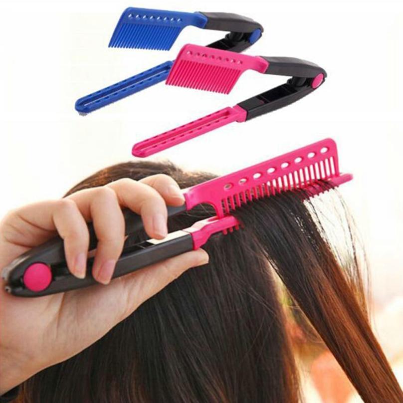 1PC Straight Hair Comb V Type Hair Straightener for women men Hair Style Styling Tools Hairdressing DIY Salon 2U0629