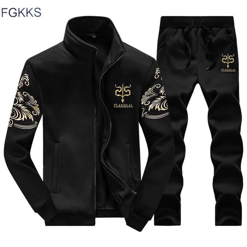 Fgkks marca homem agasalho nova moda terno esportivo moletom + moletom roupas masculinas fino masculino agasalho