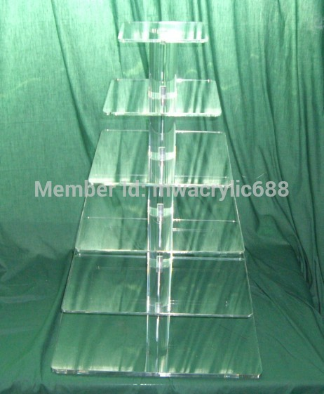 6 Tier Square Free Shipping Beautiful Clear Acrylic Cupcake Stand For Wedding Party decoration