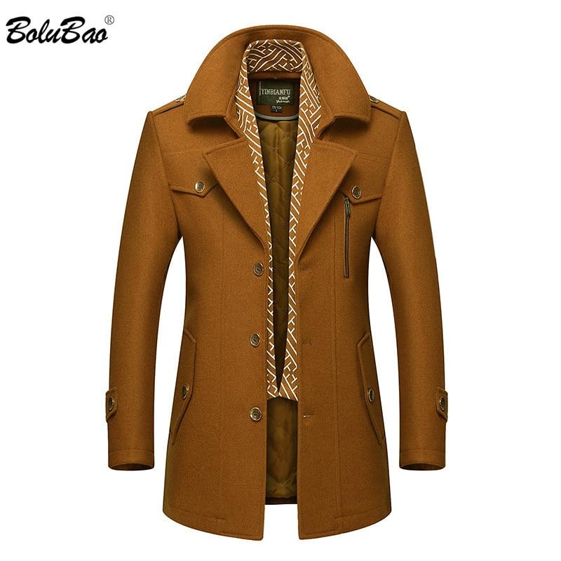 Мужское зимнее шерстяное пальто BOLUBAO с отложным воротником, теплое толстое полупальто из смесовой шерсти, Мужское пальто-Тренч