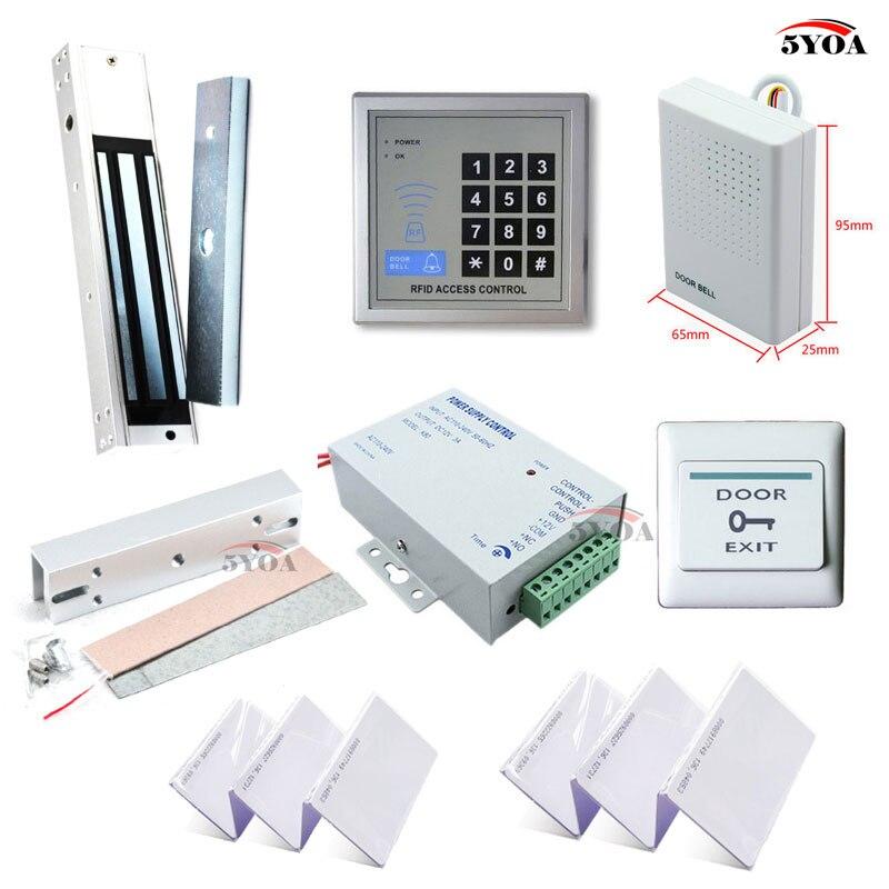 Система контроля доступа RFID, набор рамок для стеклянной двери + электрический магнитный замок + клавиатура для ID-карты + поставщик питания + кнопка выхода + дверной звонок