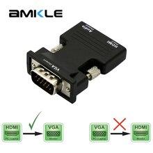 Amkle HDMI VGA adaptörü Dönüştürücü HDMI Kadın VGA Erkek Ses Kablosu Video Dönüştürücü 1080P PC Laptop için TV monitörü Projektör