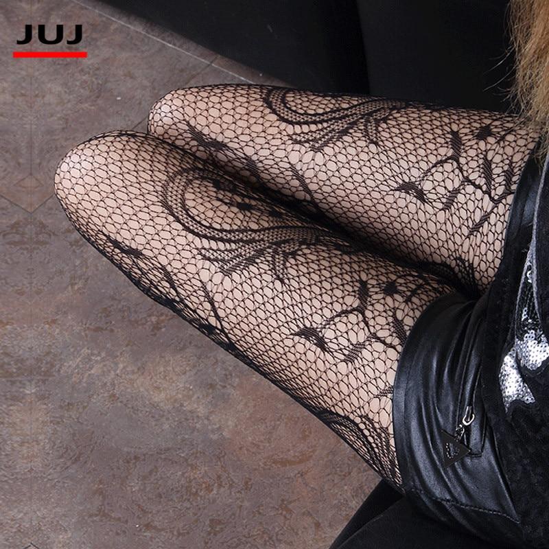 2019 Hot Fashion Sexy Women's Black Fishnet Stockings Pattern Jacquard Calcetines Leg Warmers Stocking Pantyhose Tights