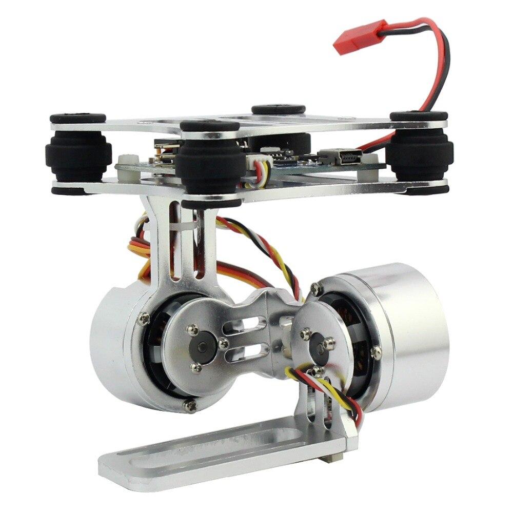 Enchufe de control de montaje de cámara Gimbal sin escobillas de 2 ejes de aluminio para Gopro 3 3 + Cámaras para DJI Phantom Trex 500/550 Drone No Manual