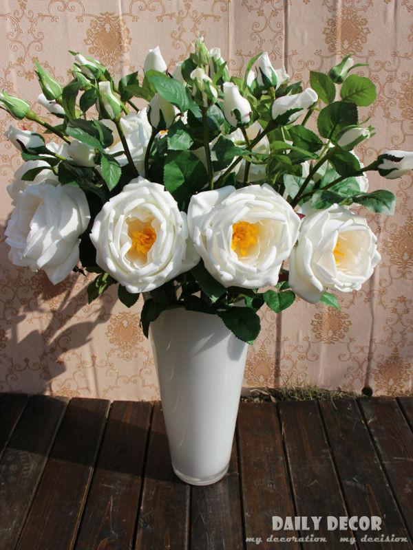 ¡10 unids/lote! 70cm 3 cabezas alta simulación PU de tacto real Rosa fieltro flores falso hibisco flor artificial hibisco rosa flores