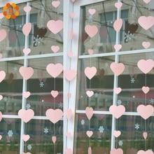 1 guirnalda de papel colgante romántica con forma de corazón, guirnalda Floral para decoración del hogar DIY, suministros para fiestas, guirnalda de papel para bodas
