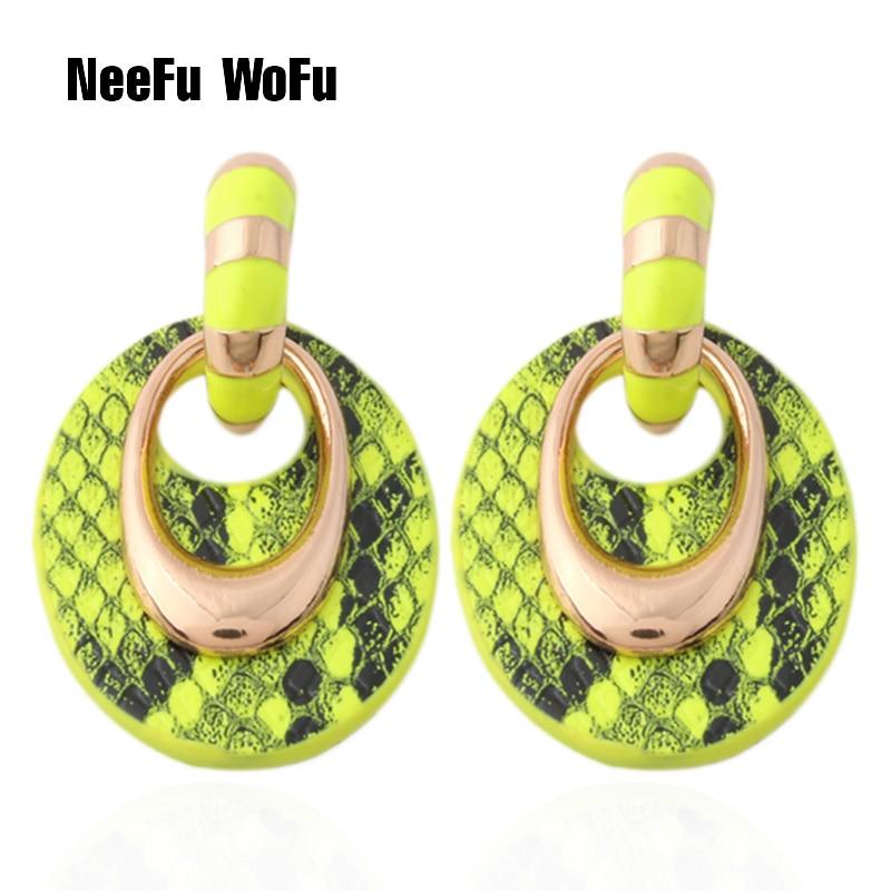 Neefu brincos de couro amarelo wofu, brincos grandes, joias oval, feminino, para carregar