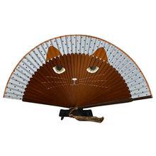 Летний милый кот, шелк, бамбук, ручная роспись, мультяшный Кот, Складной вентилятор для вечеринки, любимый (кофе)