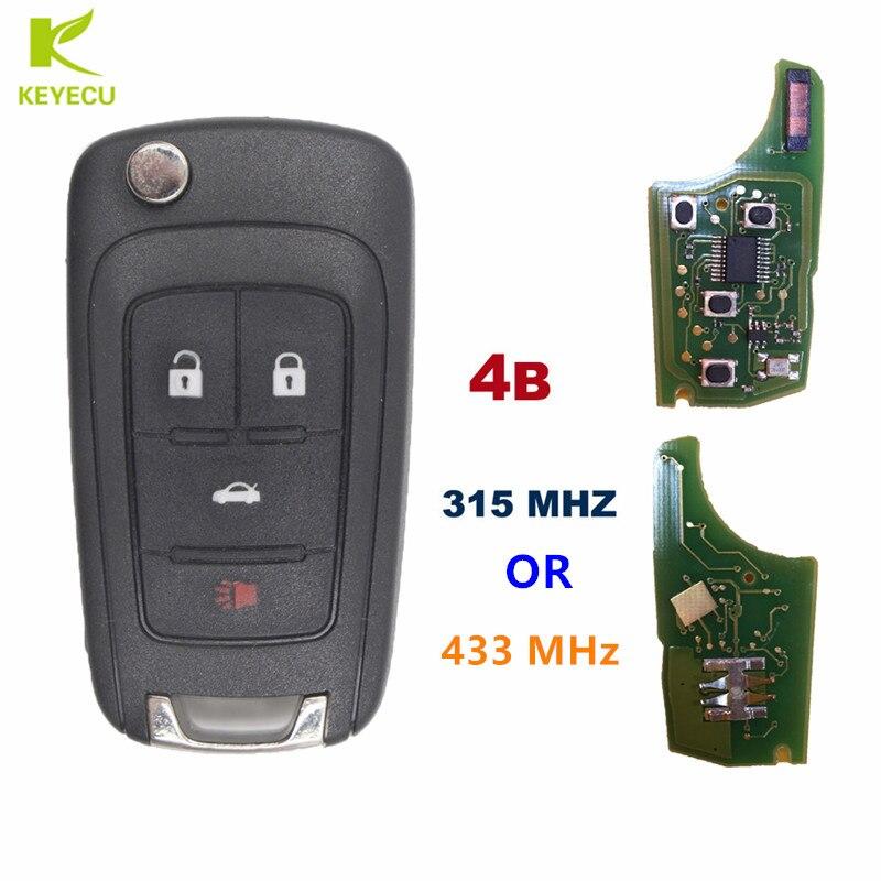 KEYECU Replacement Flip Key Keyless Entry Remote Key Fob 4 Button 315/433 MHz for Chevrolet Camaro Cruze Malibu Sonic Equinox
