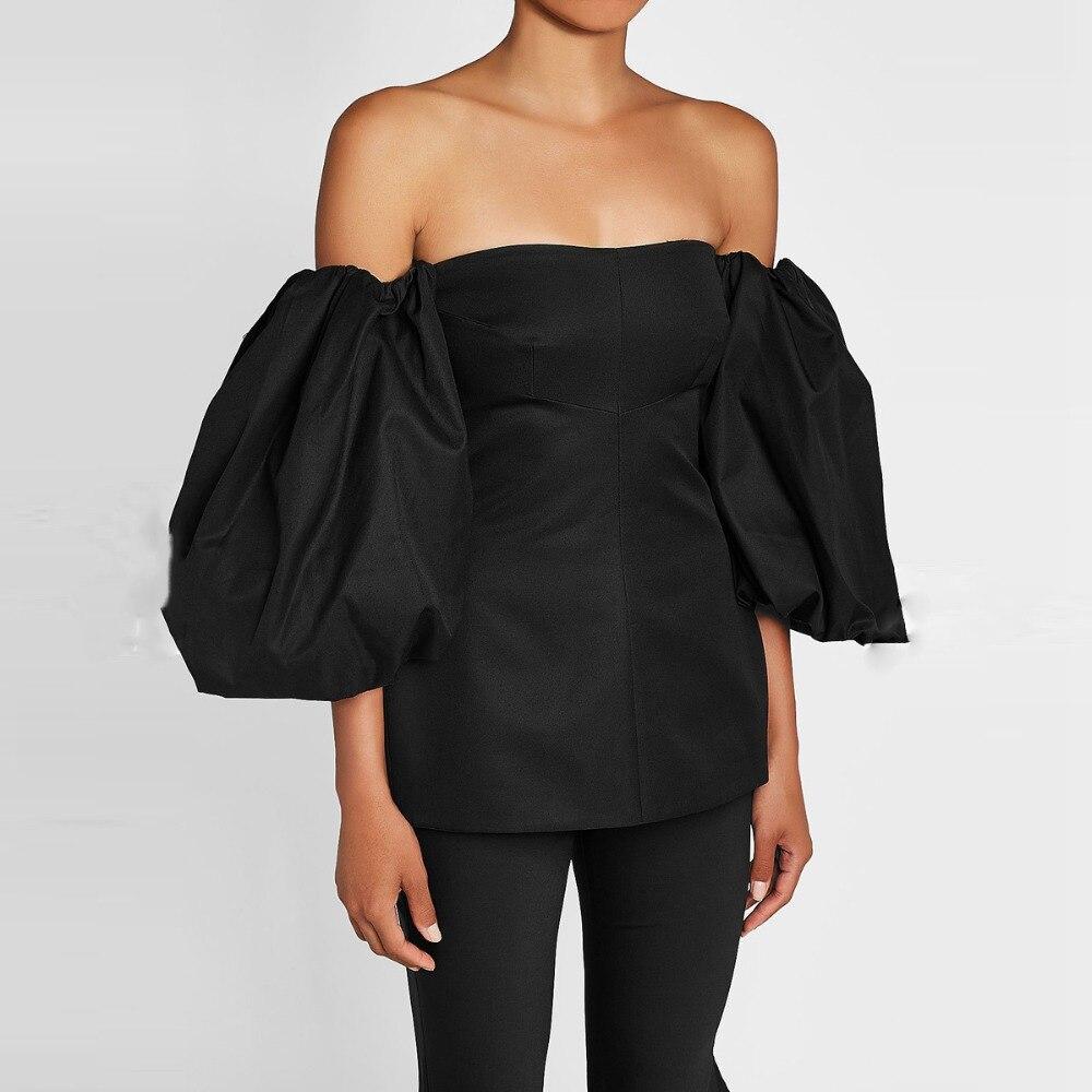 2019 mujeres negras de moda Tops estilo Hippie de hombro abultado mangas cortas blusas hechas a medida