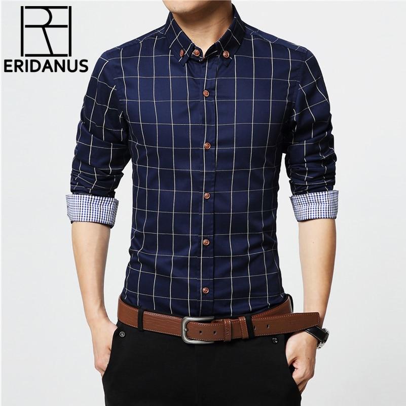 ERIDANUS 2020 Men's Plaid Cotton Dress Shirts Male High Quality Long Sleeve Slim Fit Business Casual Shirt Plus Size 5XL MCL087