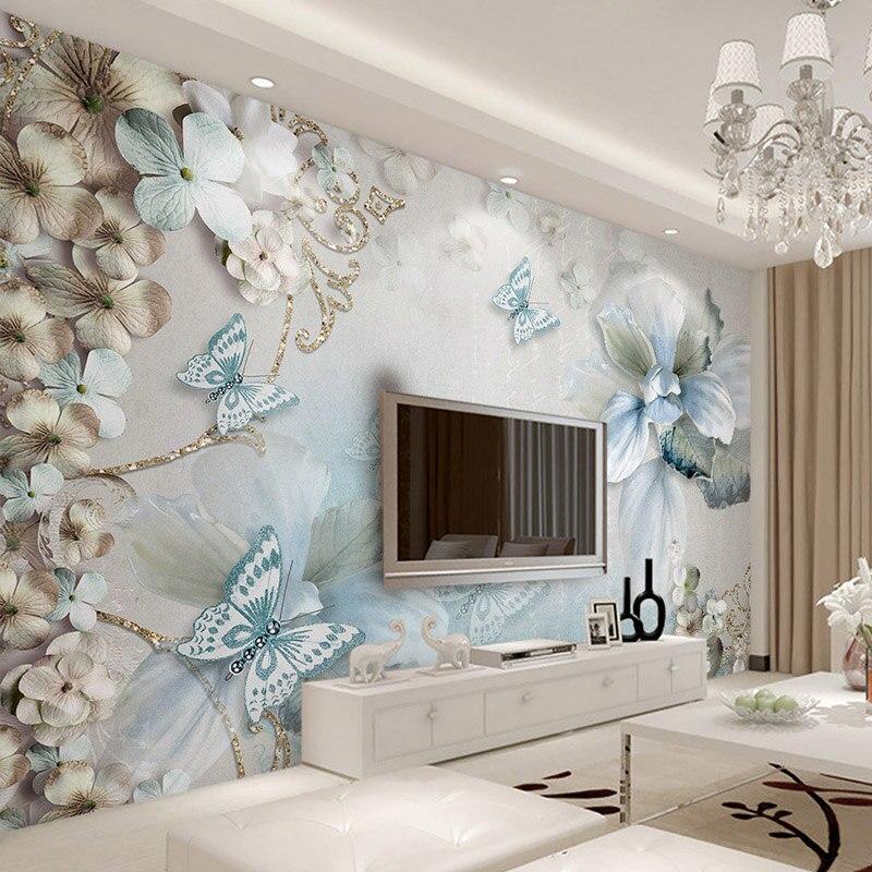 Estilo europeo de lujo papel 3D en relieve flor joyas de mariposa pared Mural habitación Pared de TV de Casa decoración de pared papeles
