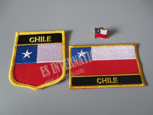 Национальный флаг вышивка патчи и металлический флаг отворот булавка Чили