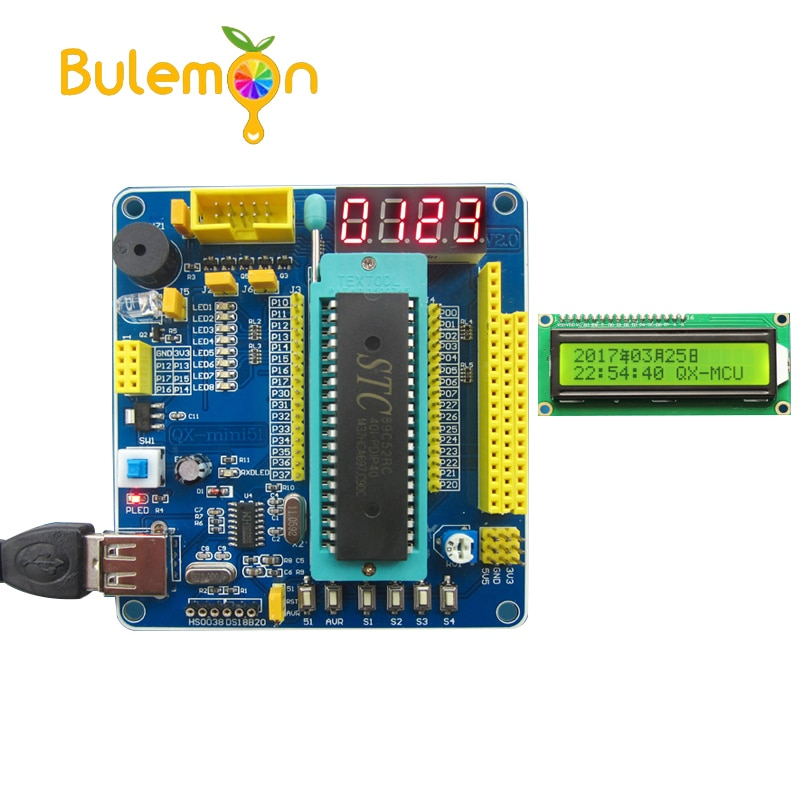51/AVR MCU מערכת מינימאלית לוח 51 MCU לוח פיתוח 51 MCU למידת לוח עם LCD