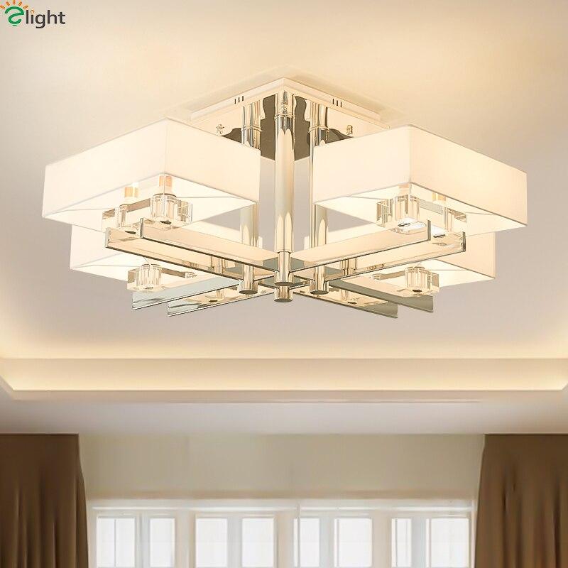 Moderno de metal cromado para sala de estar, luces Led para techo, tonos de tela, lámpara Led para comedor, lámpara de techo para sala de estar, accesorios de iluminación para techo