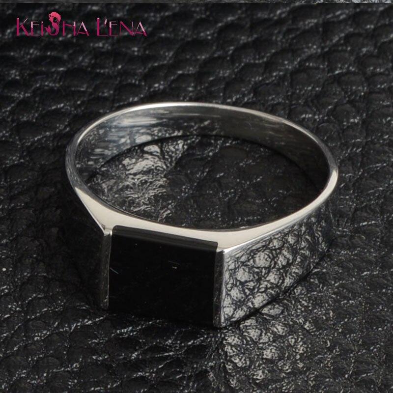 ¡Novedad de 2020! Anillo de epoxi Rectangular de piedra negra, anillo de estilo indio, anillos de moda de joyería de acero inoxidable y plata de alta calidad