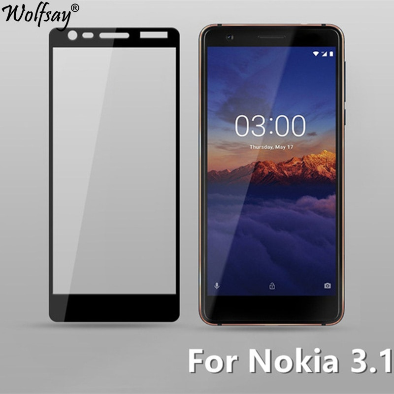sFor Nokia 3.1 Tempered Glass Full Cover Screen Protector For Nokia 3.1 Glass Color Anti-Explosion P