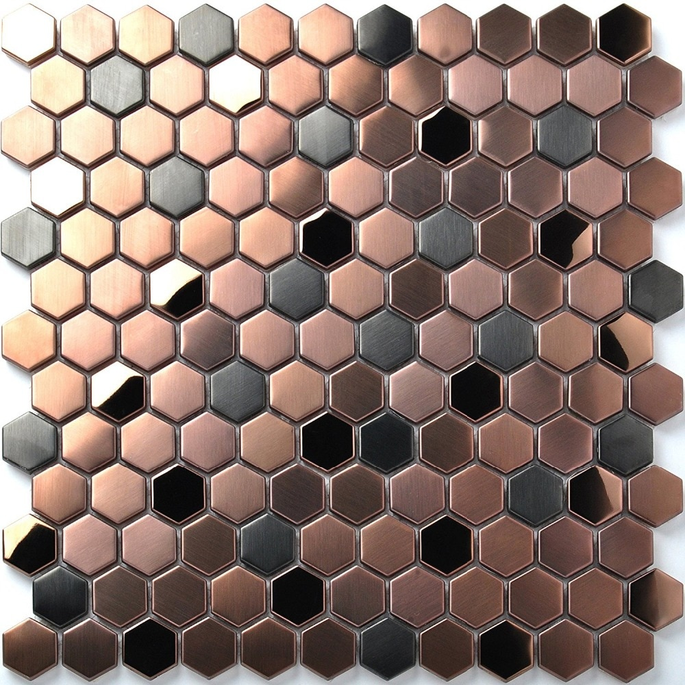 23mm Hexagon Brush Rose Gold mixed Black Metal Stainless Steel Mosaic Tiles, Creative Store Waistline fireplace wall floor tile