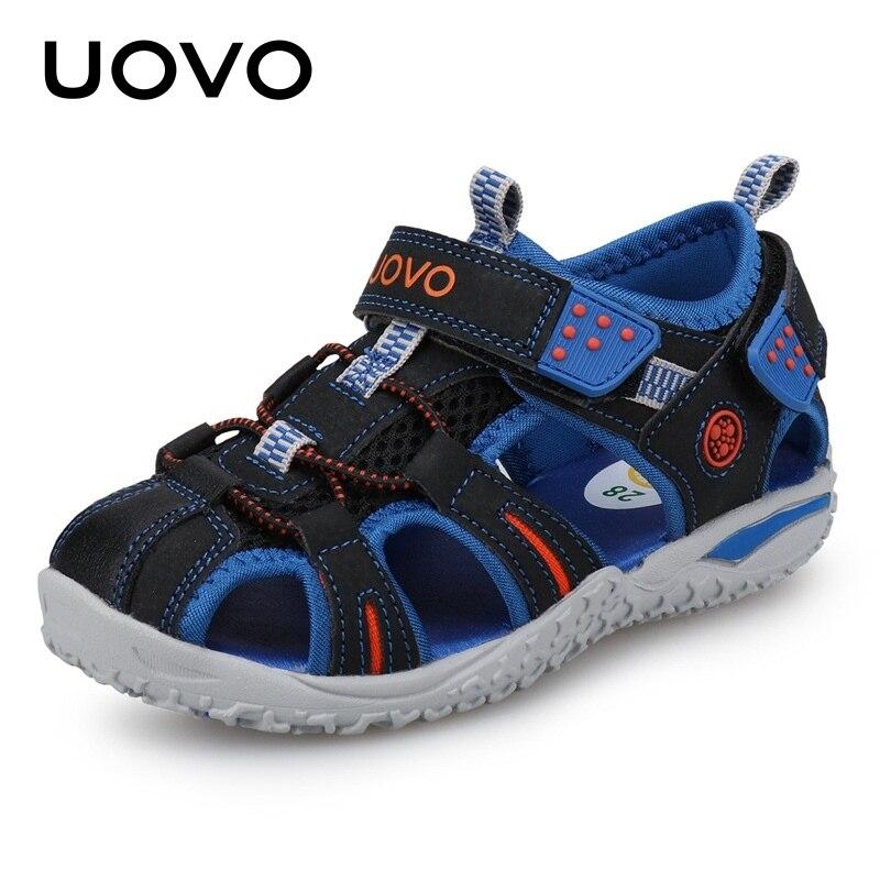 UOVO nueva llegada 2019 verano playa sandalias de dedo del pie cerrado niño Sandalias niños zapatos de diseñador de moda para niños 24 -38