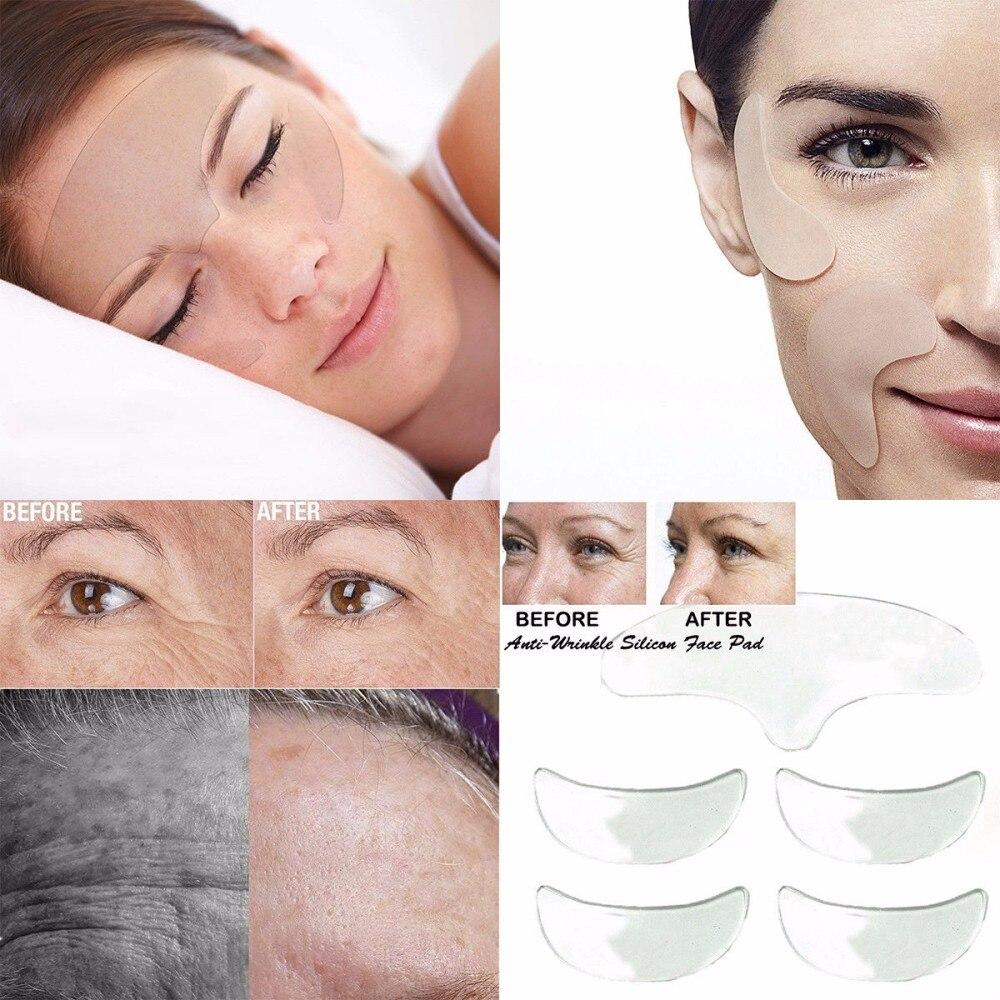5 unids/set de almohadillas Chic antiarrugas para el cuidado de la piel de las mujeres, almohadillas de silicona reutilizables para levantar la cara durante la noche, almohadillas invisibles