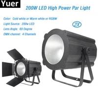 2pcslot stage light led 200w cob par lights casting aluminum with 4 dmx channels led display 60 degree lens angle for dj disco