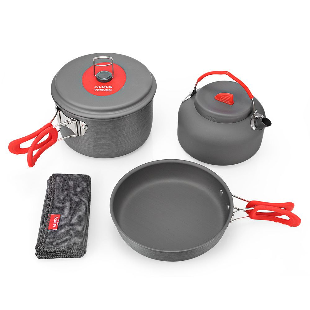 LGFM-ALOCS CW-C19T, Kit de cocina de alúmina dura, juego de utensilios de cocina, ultraligero portátil, 2-3 personas, olla, olla, tetera, paño de cocina para Campi