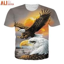 Alisister Animal t-shirt 3d aigle Lion loup hibou imprimé été T-shirts hommes femmes grande taille t-shirt Homme Camiseta livraison directe