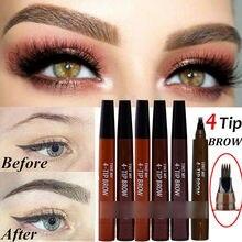 9 Colors 4 Head Henna Eyebrow Marker Pencil Microblading Liquid Eye Brow Pen Eyebrows Shades Makeup Sourcil Eyebrow Tint Tatto Pencil Eyebrow Henna Makeup Tools