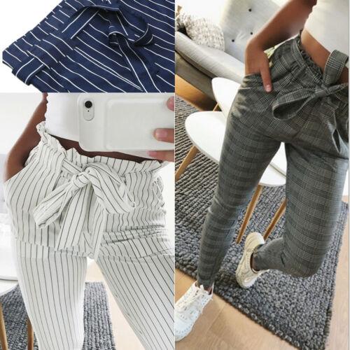 Pantalones sueltos informales lisos con cintura elástica Harem de chifón Talle alto para mujer