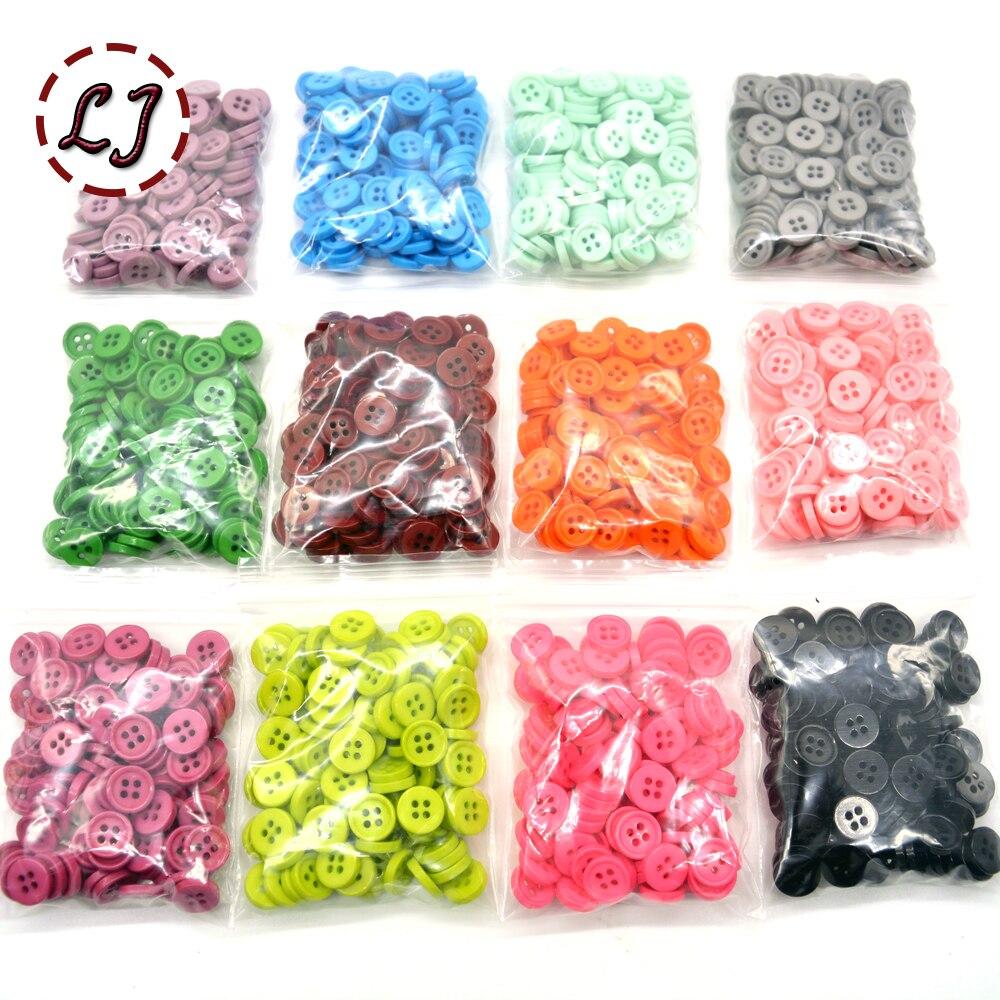 100 unids/lote botón pequeño de resina redondo de cuatro agujeros 12mm botón cosido scrapbooking para niños tela colores caramelo hecho a mano DIY acceso