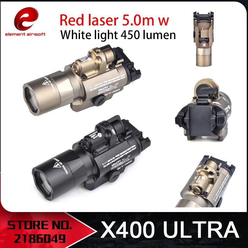 Element Airsoft Surefir X400 Ultra Flashlight Red Laser 20mm Picatinny Weaver Rail Mount 450 lumen X400U Gun Light EX367