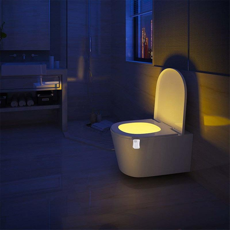 SZ-0726 led toalete luz com 8 mudanças de sensor de movimento de cor diferente design operado por bateria banheiro tigela luz da noite