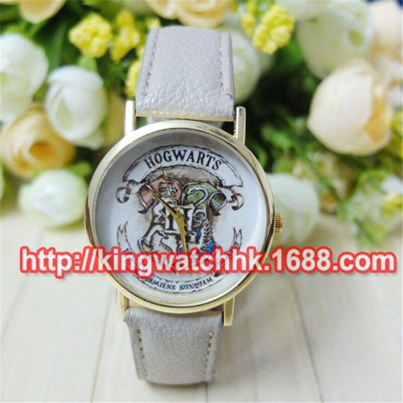 100 unids/lote, nuevo reloj de pulsera de cuero HOGWARTS Magic School, relojes de cuarzo para mujer, reloj