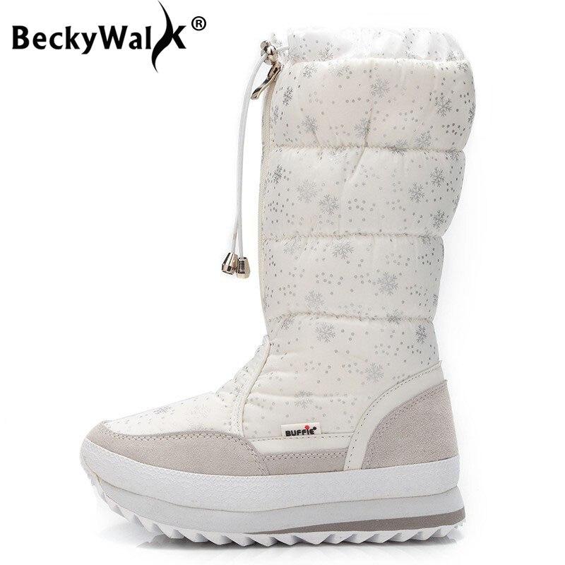 BeckyWalk New Fashion High Boots Women Winter Snow Boots Front Zipper Platform Warm Women Shoes Black White Snowflake WSH3098