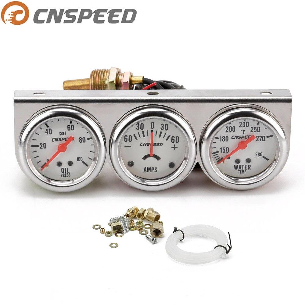CNSPEED Auto Car Oil Pressure Water Temp Amp Meter Gauge With Sensor Triple Gauge Set Mechanical Chrome Panel Oil Press YC101323