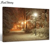 full drill square round 5d diy diamond painting warm winter park alley in park and shining lanterns diamond embroidery fs4105