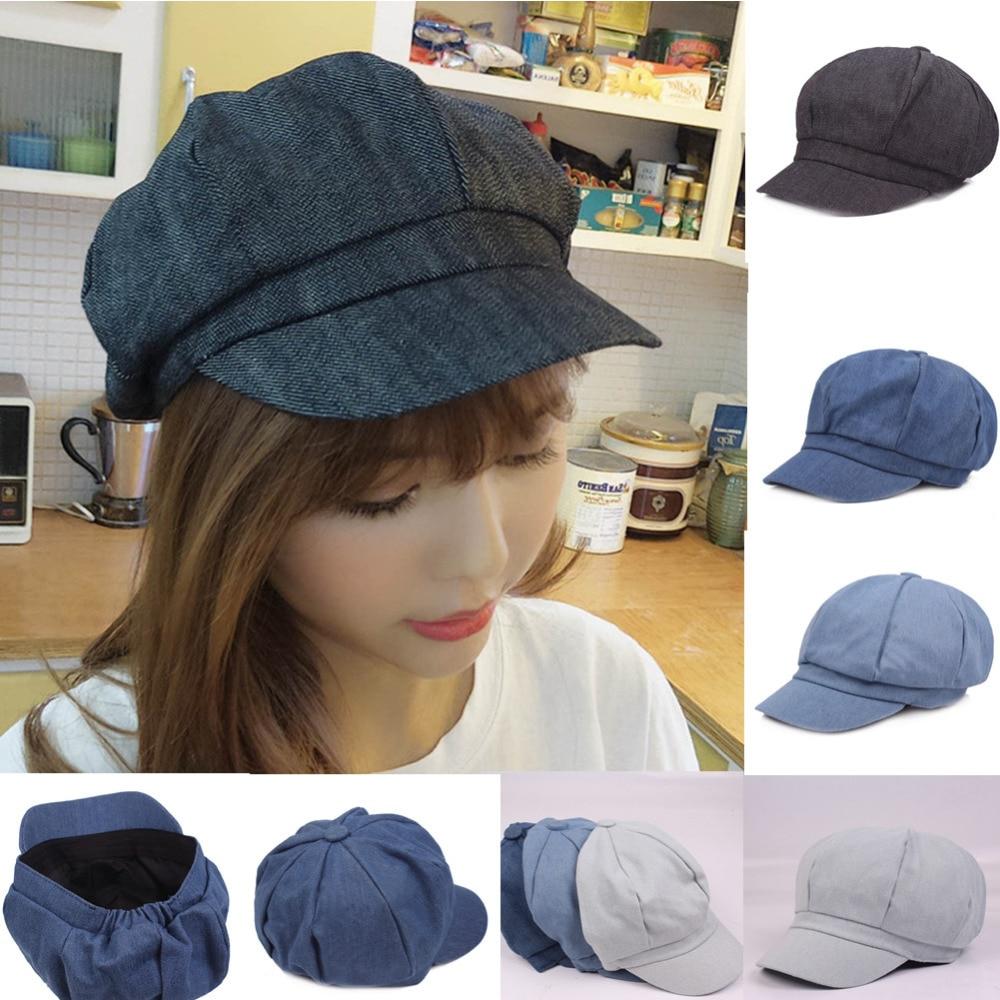 Newsboy Caps 2019 New Arrive Women Denim Newsboy Gatsby Cap Octagonal Baker Peaked Beret Driving Hat Female Sunscreen Hats