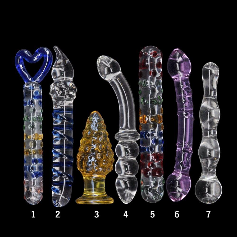 قضبان اصطناعية زجاجية من بيركس ، 7 أنواع من المكونات الشرجية الكريستالية ، خرز الأرداف ، ألعاب الاستمناء للإناث ، منتجات جنسية للبالغين
