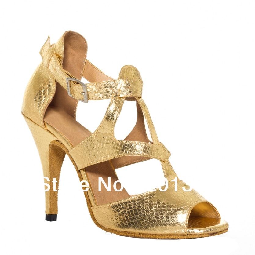 Women Discount  Gold Snakeskin Print Dance Shoes Latin Ballroom Shoes Salsa Dance Shoes Tango Shoes 34,35,36,37,38,39,40,41