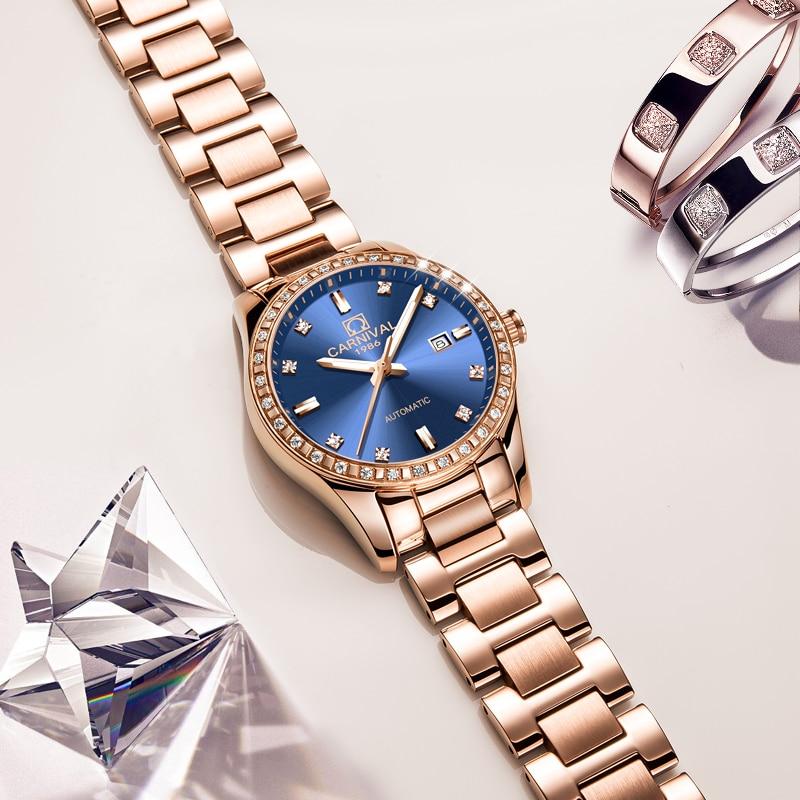 Carnival reloj de lujo para mujer, oro rosa, acero inoxidable, marcas de moda, fecha automática, reloj de pulsera mecánico resistente al agua, reloj femenino