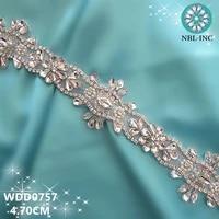 10 yardswholesale iron on silver bridal hand beaded crystal rhinestone applique trim for wedding dress sash belt wdd0757