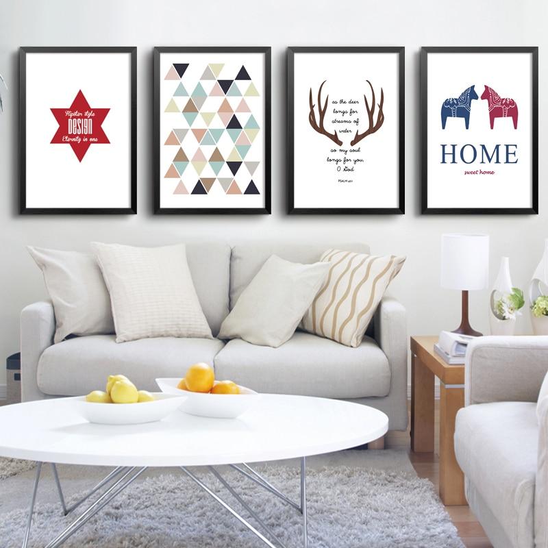 Serie de Navidad lienzo pintura nórdicos arte de ciervo para la pared impresión de imágenes de dibujos animados para la sala de decoración del hogar, sin marco