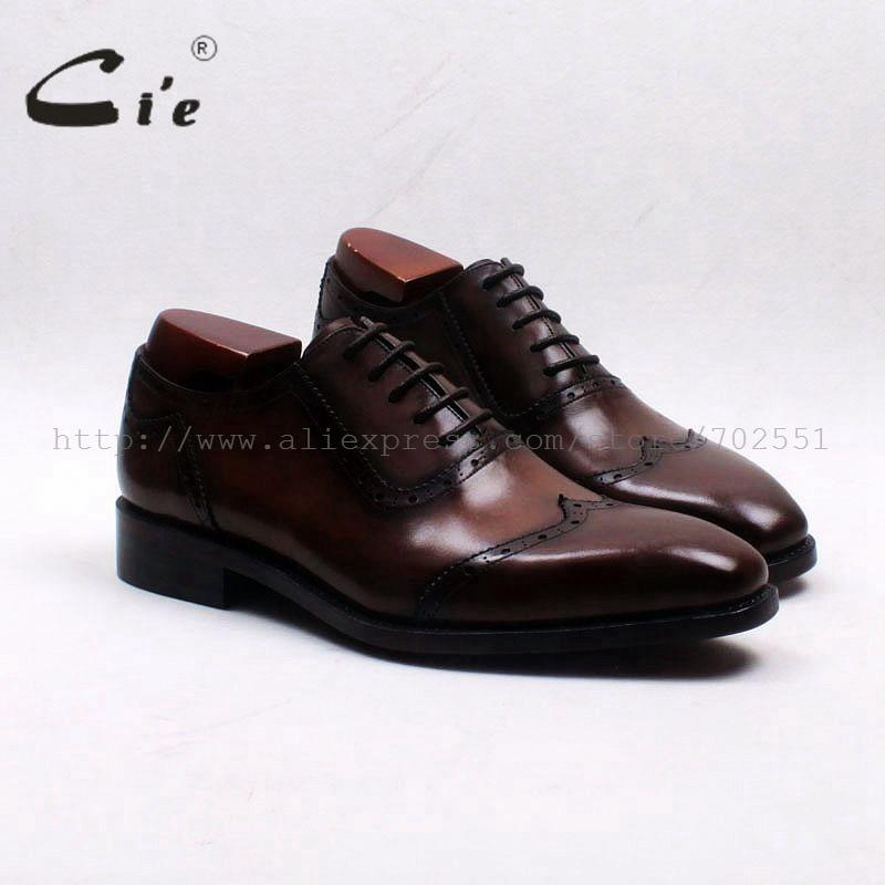 Бесплатная доставка, самоклеящиеся мужские туфли-оксфорды cie из телячьей кожи ручной работы с внутренней подошвой на заказ, коричневые туфли Оксфорд, OX553 W-tips