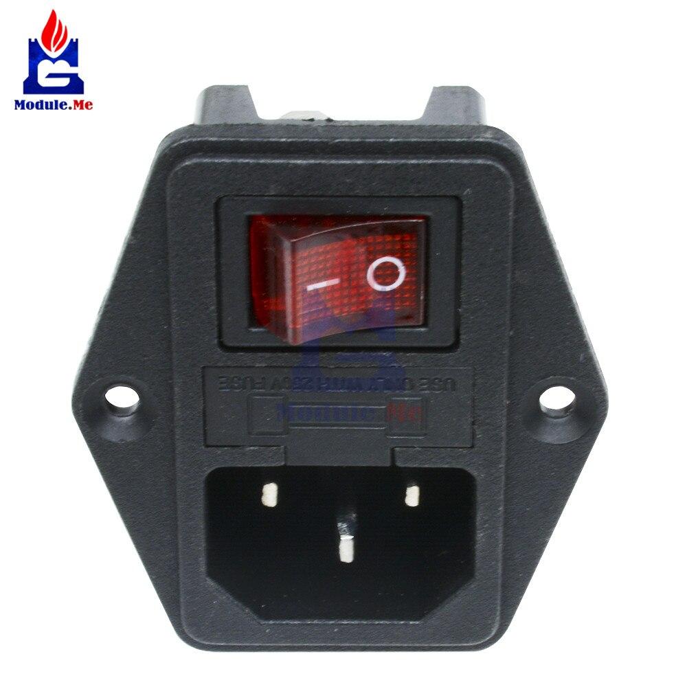 AC 250V 10A negro rojo 3 potencia terminal con fusible